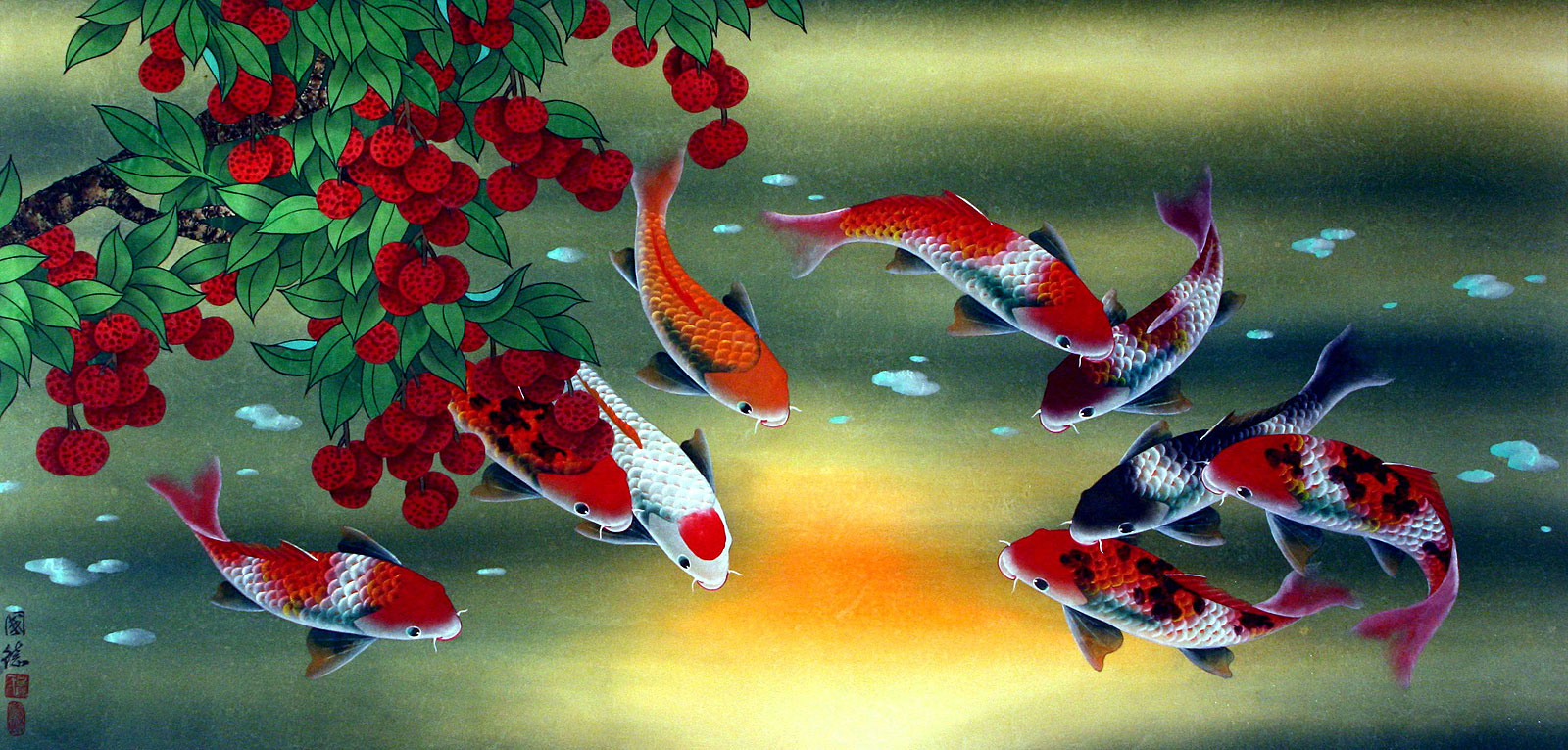Huge koi fish and lychee fruit painting asian koi fish for Chinese koi fish painting