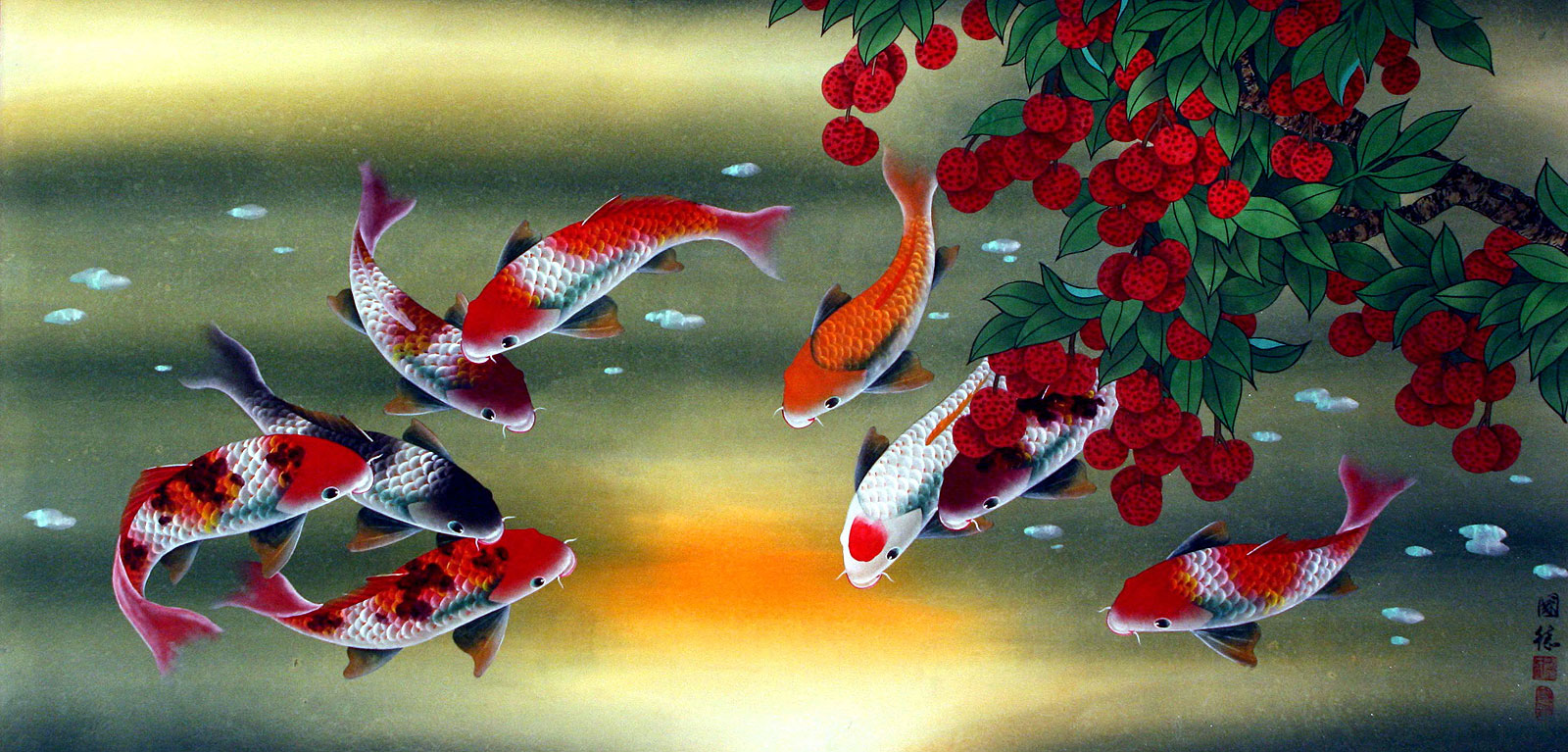 Huge koi fish and lychee fruit chinese painting asian for Japanese fish painting