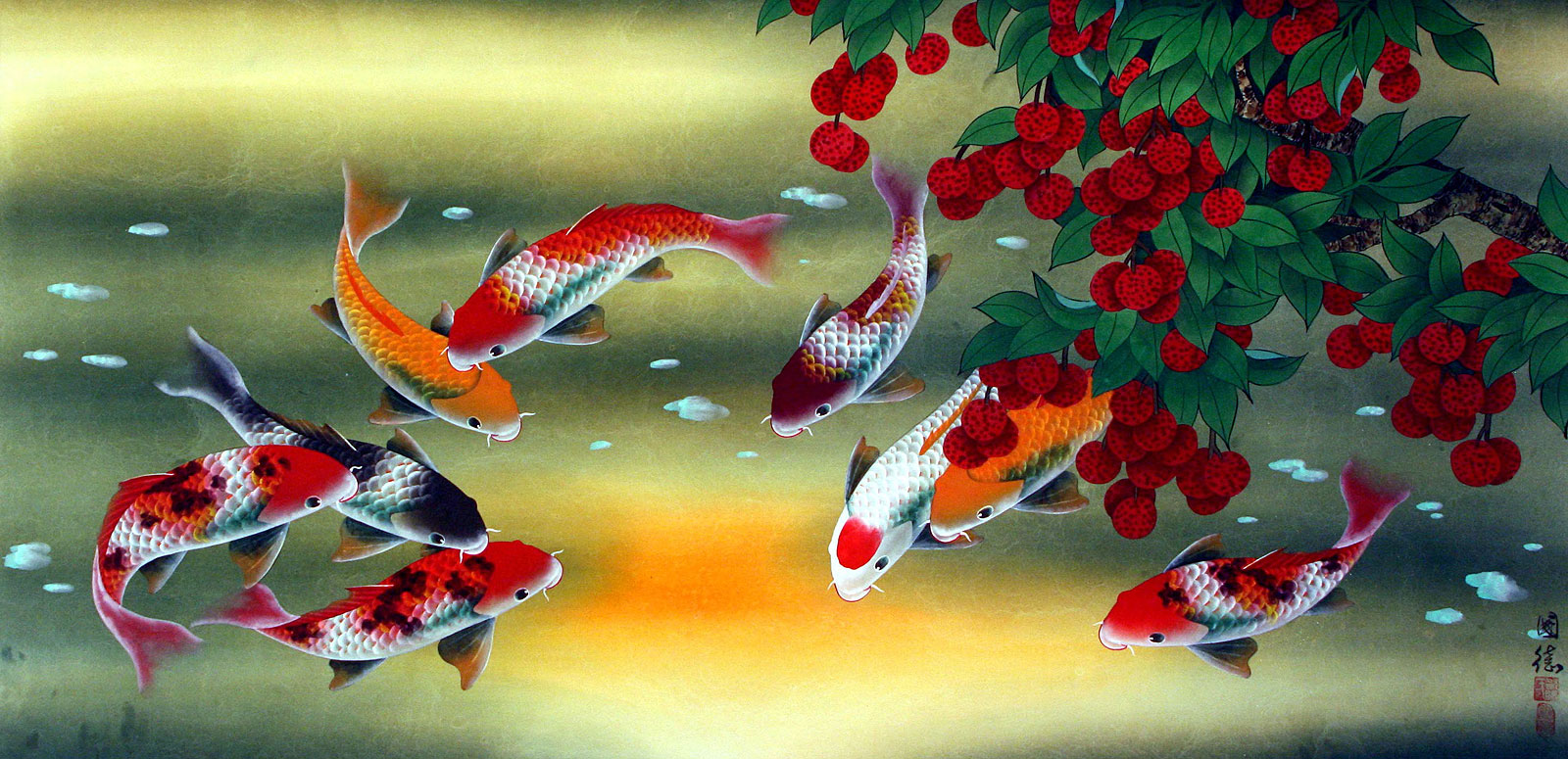Huge koi fish and lychee painting asian koi fish for Japanese koi carp paintings