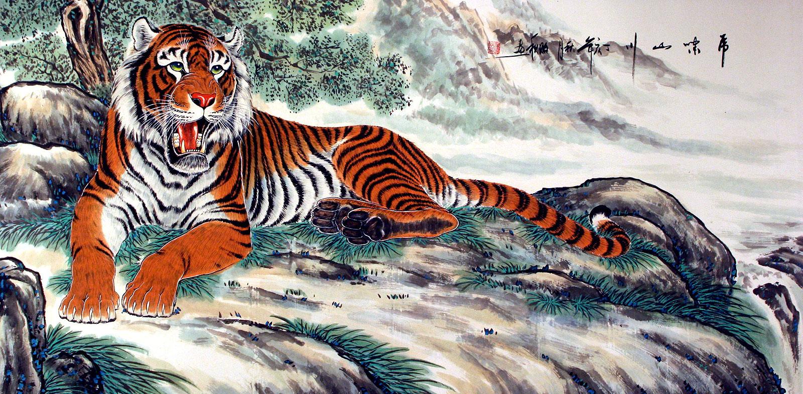 Ancient chinese tiger drawing - photo#21