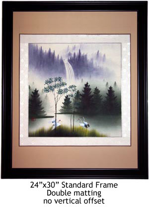 Framed Asian Cranes Painting