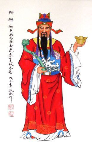 Asian Good Fortune / Prosperity God Wall Scroll close up view