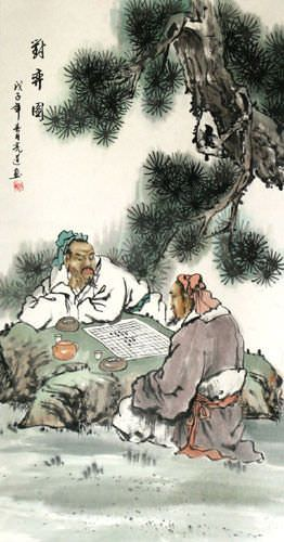 Chinese Men Playing Weiqi Chess Wall Scroll close up view