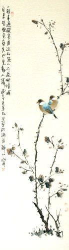 Birds on a Branch - Bird and Flower Wall Scroll close up view