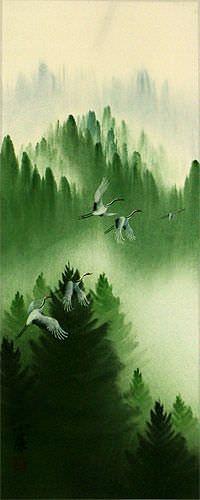 Homeward Bound Asian Cranes Wall Scroll close up view