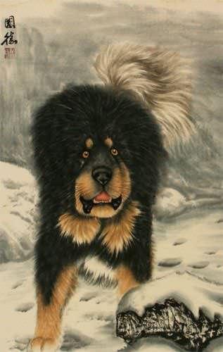 Hearty Dog in the Snow - Chinese Wall Scroll close up view