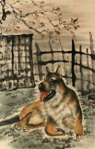 Chinese Dog Wall Scroll close up view