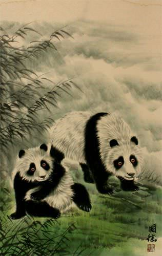 Panda Wall Scroll close up view