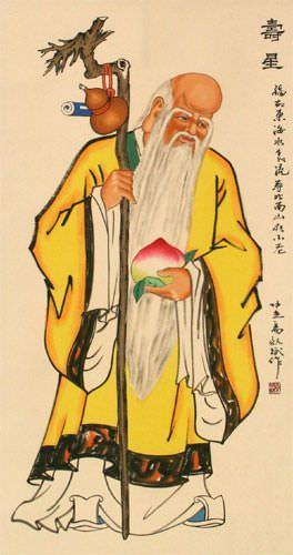 Longevity Saint Chinese Scroll close up view