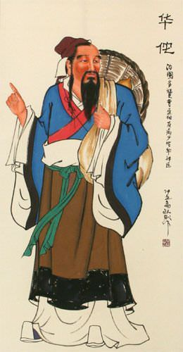 Ancient Chinese Physician - Wall Scroll close up view