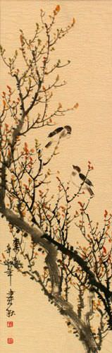 Spring Rhythm - Birds and Flowers - Wall Scroll close up view