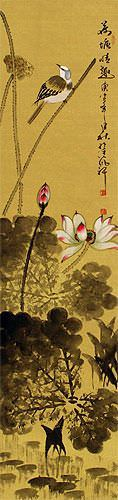 Bird in Perched over Lotus Pond - Chinese Wall Scroll close up view