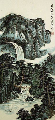 Waterfall and Bridge Landscape Wall Scroll close up view