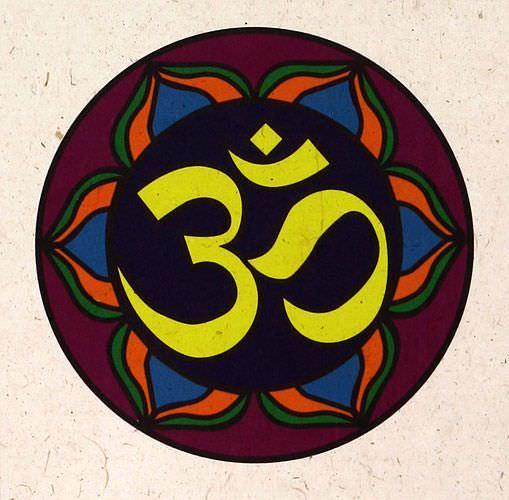 Om Symbol - Hindu / Buddhist Wall Scroll close up view