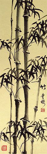 Black Ink Chinese Bamboo Wall Scroll close up view