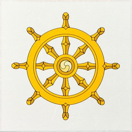 Wheel of Buddhism Symbol Print - Wall Scroll close up view