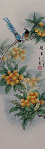 Traditional Chinese Bird and Flower Wall Scroll close up view