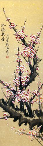 Chinese Pink Plum Blossom Wall Scroll close up view