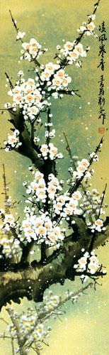 White Plum Blossom Wall Scroll close up view