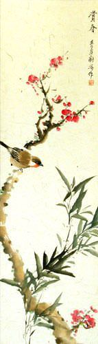 Enjoy the Beauty of Spring - Bird and Flower Wall Scroll close up view
