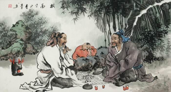 Big Men Playing Weiqi (Asian Chess) Painting