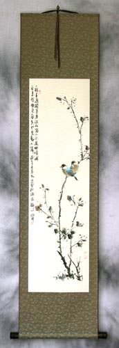 Birds on a Branch - Bird and Flower Wall Scroll