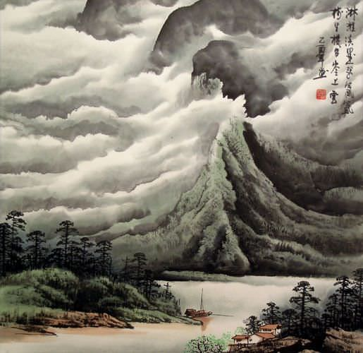 Boats and Clouds Greet the Mountians - Chinese Landscape ...