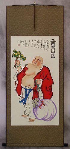 Happy Longtime Buddha - Asian Wall Scroll