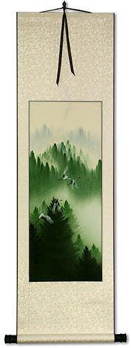 Homeward Bound Asian Cranes Wall Scroll