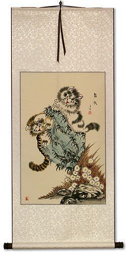 Playful Cats Wall Scroll