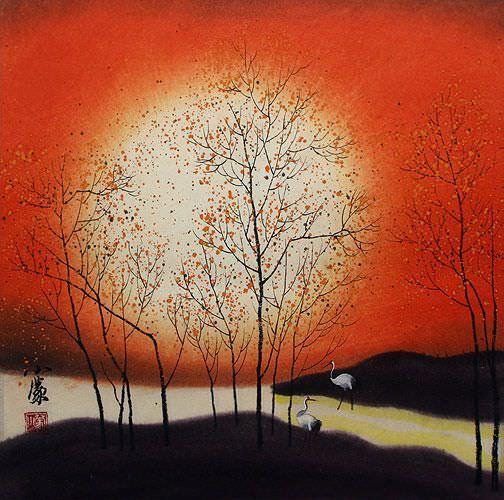 Sounds of Autumn Cranes Fantasy Landscape Painting