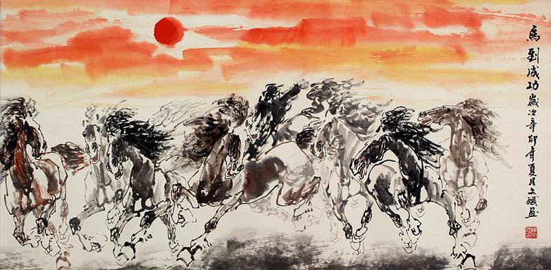 "See how ""Big Oriental Horse Painting"" would look after being professionally framed"