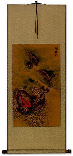 Hidden Chinese Dragon - Asian Wall Scroll