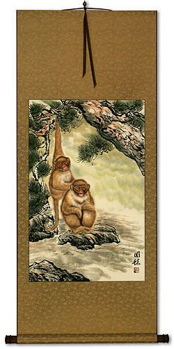 Monkeys In Pine Tree Asian Wall Scroll Cute Animals