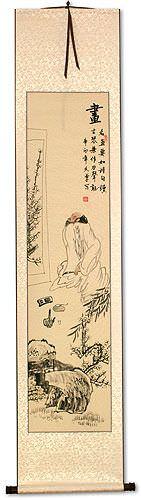 Man Enjoying Art and Music - Wall Scroll