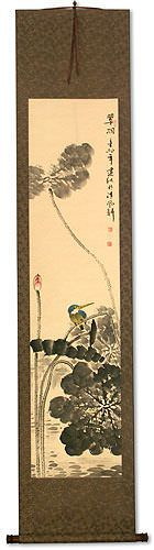 Kingfisher Bird in Perched on Lotus - Wall Scroll