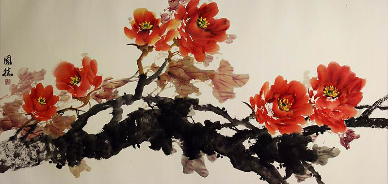 Large Peony Flowers Painting