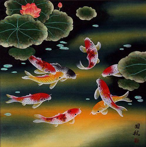 Nine Koi Fish And Lotus Flowers Asian Painting Asian