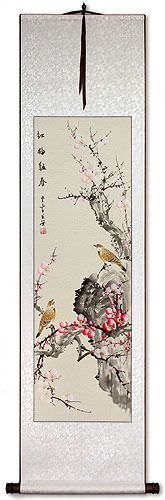 Chinese Birds and Plum Blossom Painting Wall Scroll