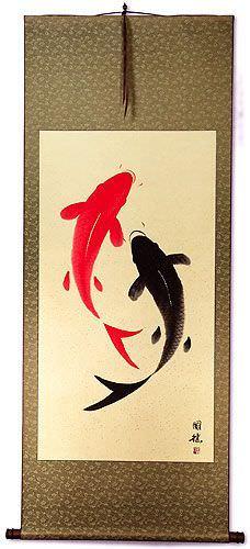 Yin Yang Koi Fish Large Oriental Scroll