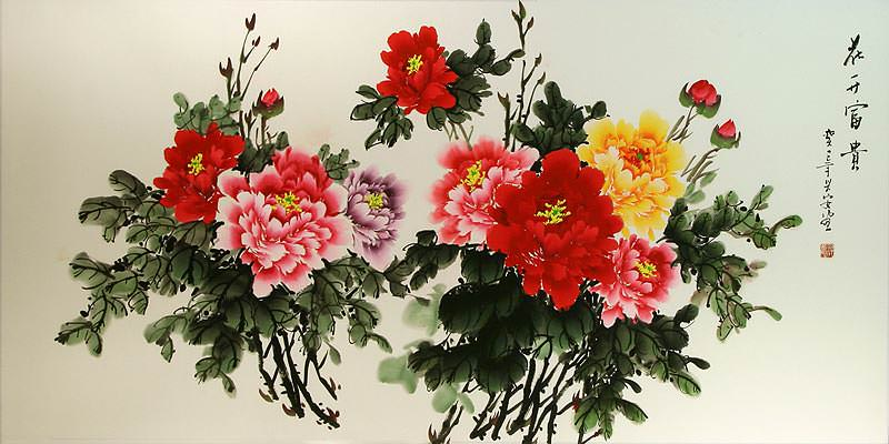 Colorful Peony Flowers Painting