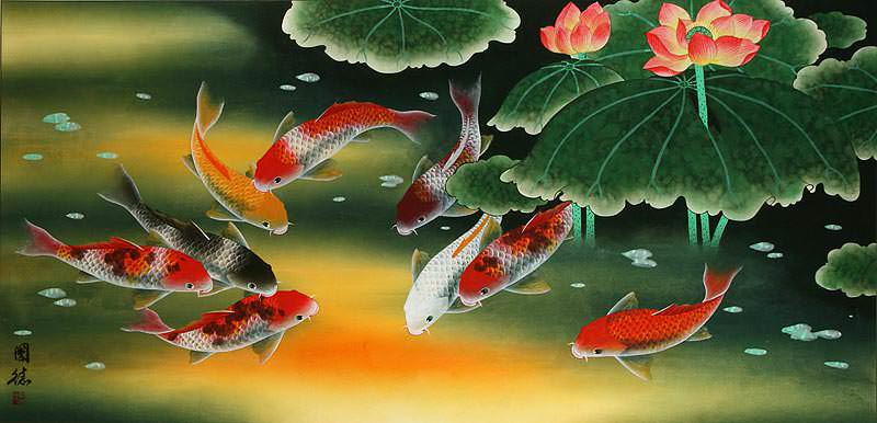 Huge koi fish and lily oriental art painting asian koi for Koi wallpaper for walls