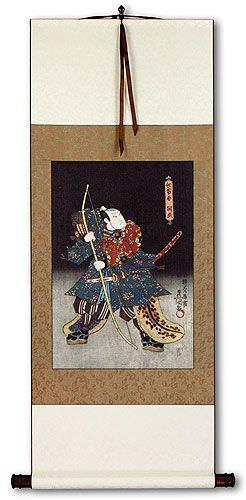 Samurai Saitogo Kunitake - Japanese Woodblock Print Repro - Wall Scroll