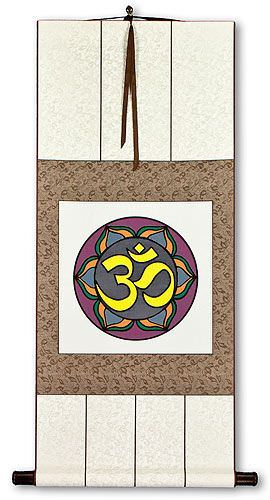 Colorful Om Symbol - Hindu / Buddhist Wall Scroll
