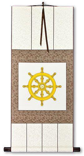 Wheel of Buddhism Symbol Print - Wall Scroll