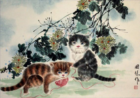 Kittens At Play Chinese Painting Cute Animals Cats