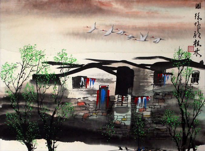 Birds Over Suzhou - Asian Venice Painting