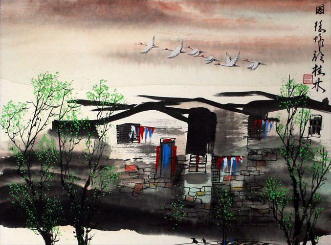 Birds Over Suzhou - Asian Venice Painting