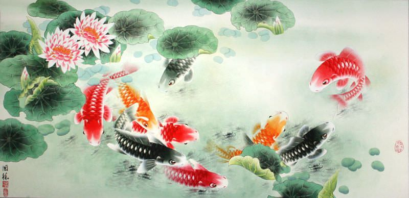 Koi fish and lotus flower colorful asian art painting for Chinese koi fish painting