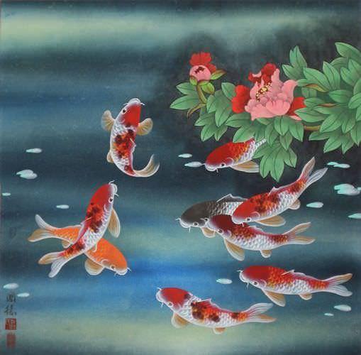 Nine Koi Fish And Flowers Asian Painting Asian Koi Fish